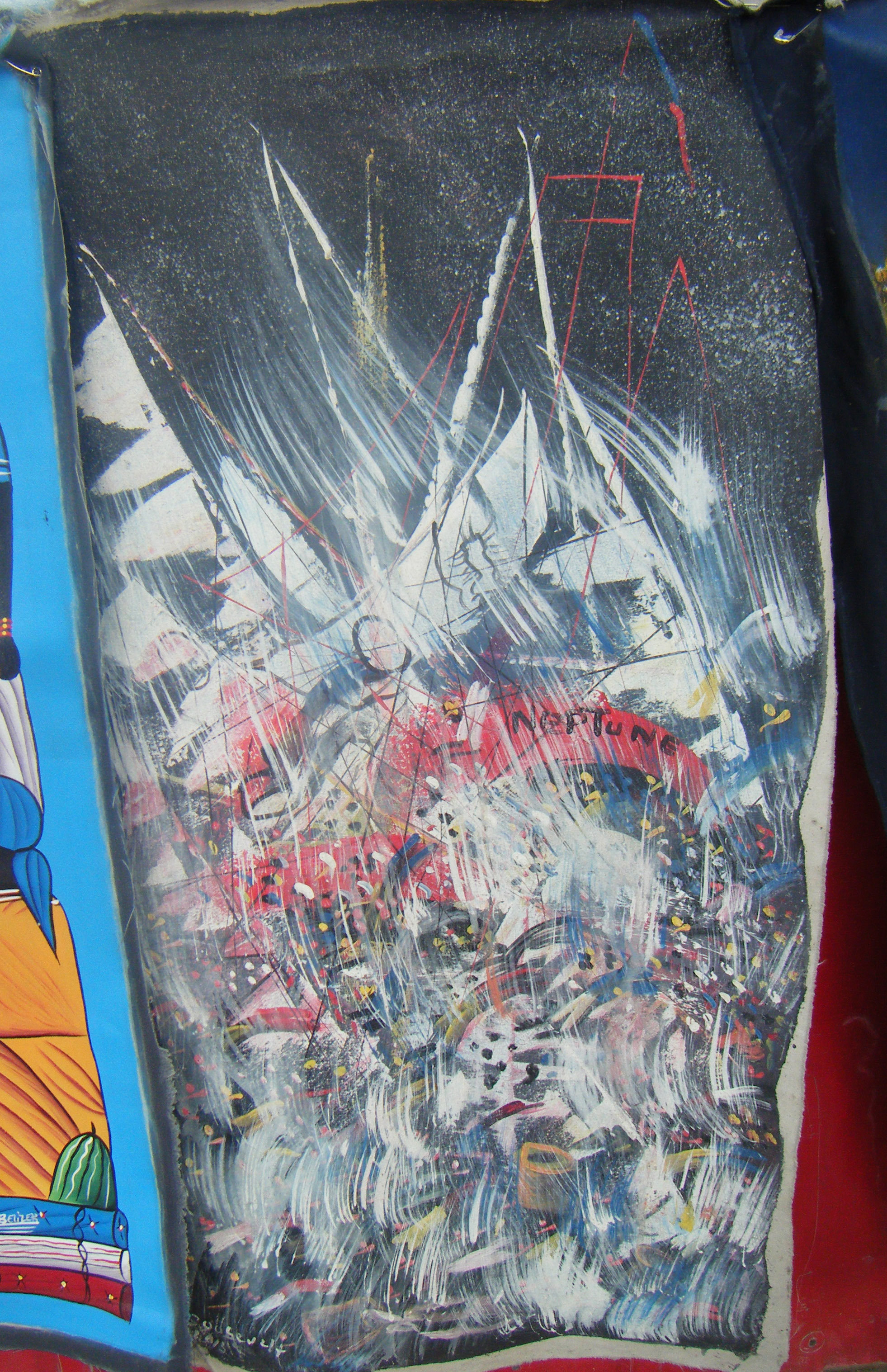 Schipbreuk van handgemaakte schilderij op doek ha tiaanse volkskunst eur veiling - Mandje doek doek ...