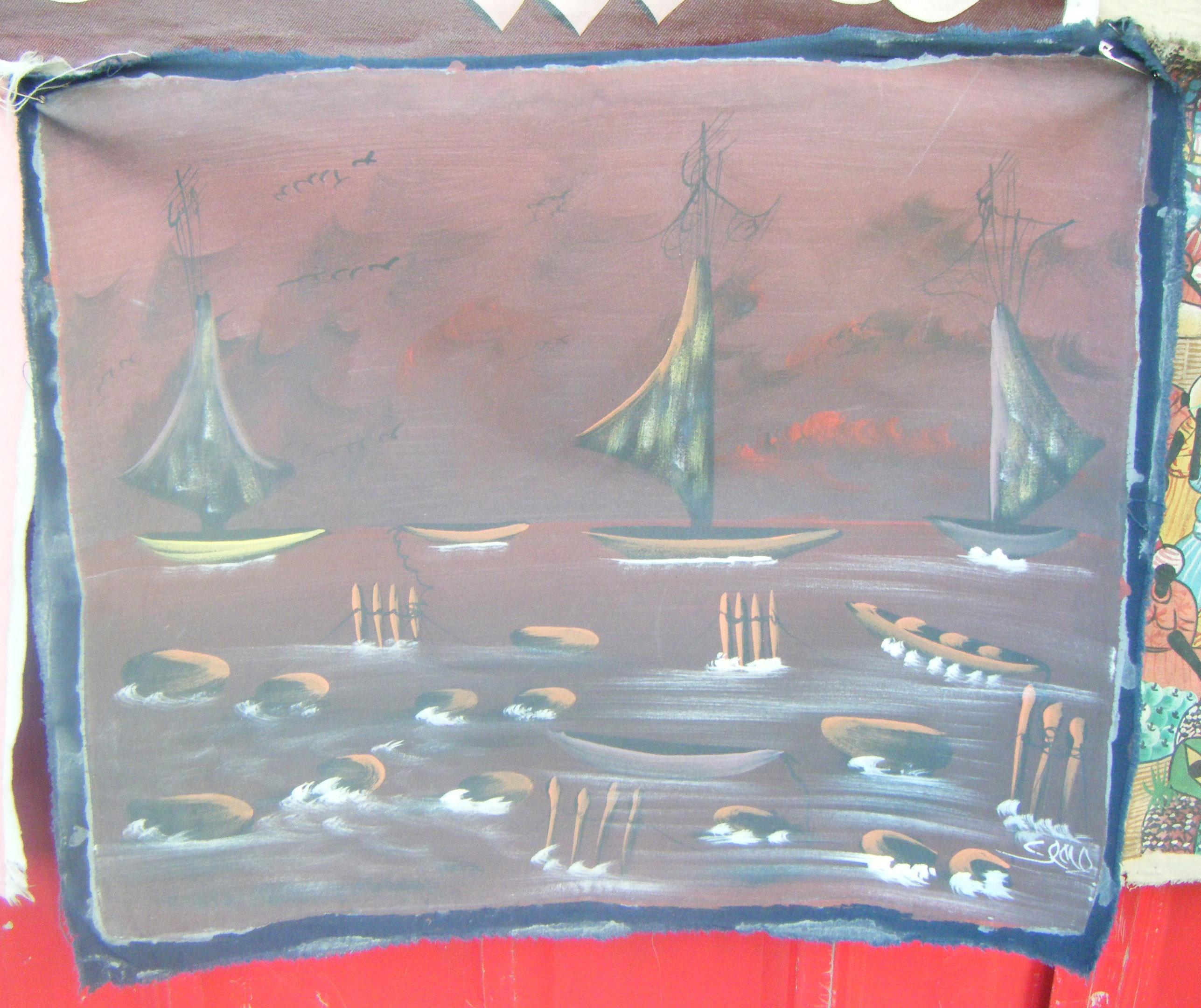 Boten op de zee origineel schilderij op doek volkskunst ha ti eur veiling nederland - Mandje doek doek ...