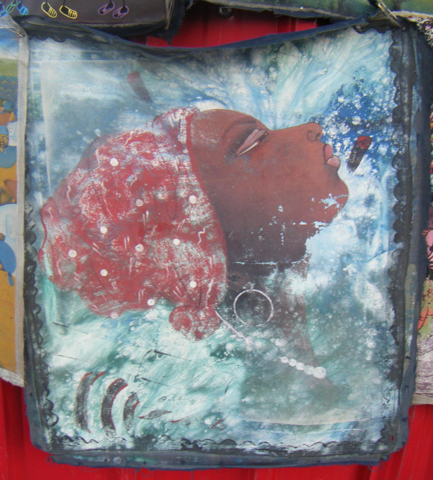 Ha tiaanse meisje origineel schilderij op doek volkskunst ha ti eur veiling nederland - Mandje doek doek ...