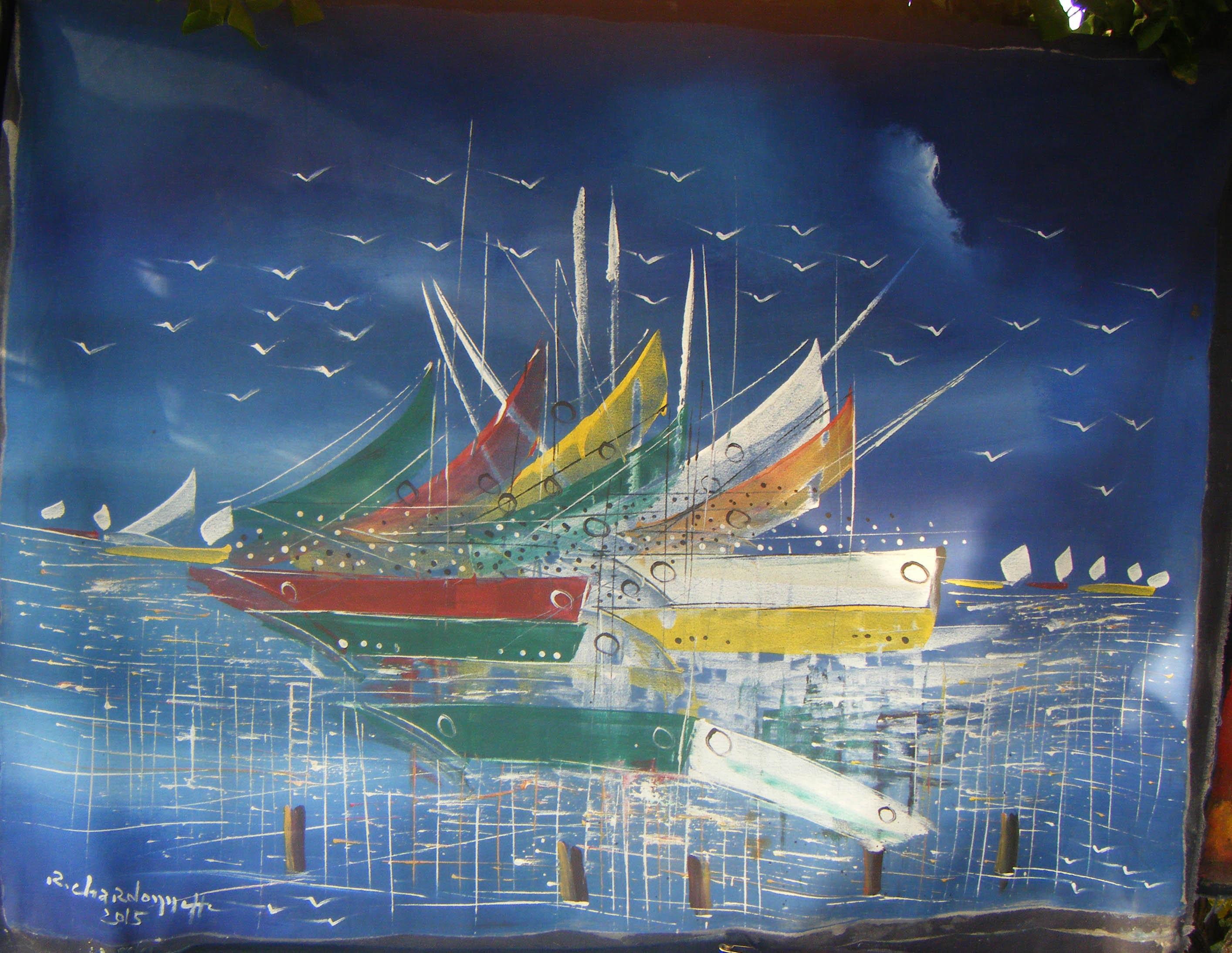 Schipbreuk originele doek handgemaakte schilderij folk kunst eur veiling nederland - Mandje doek doek ...