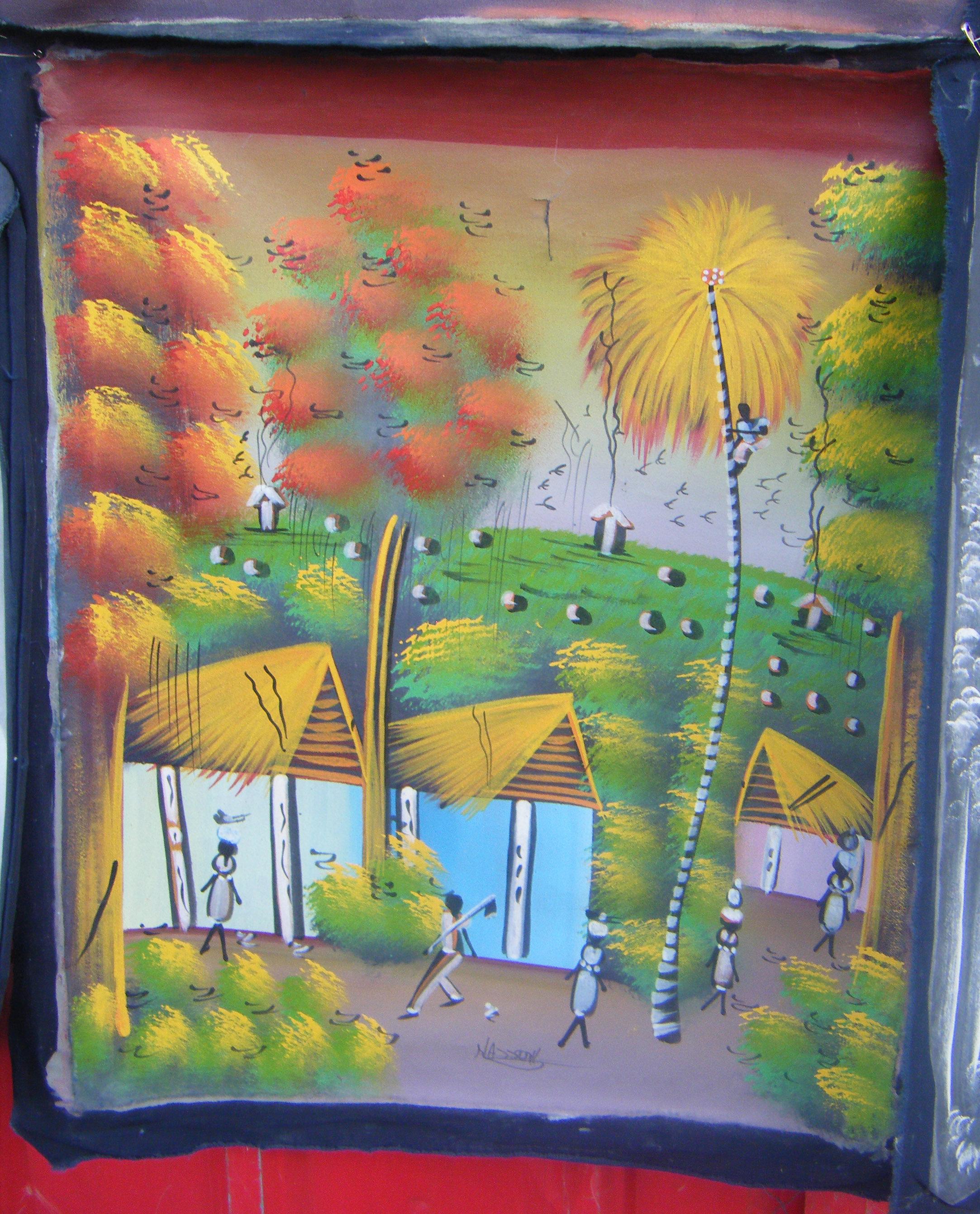 Ha tiaanse huizen origineel schilderij op doek volkskunst ha ti eur veiling nederland - Mandje doek doek ...