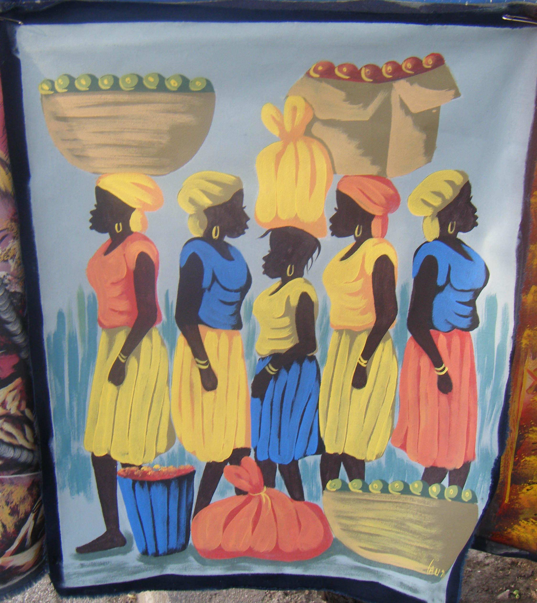 Ha tiaanse vrouwen originele doek handgemaakte schilderij folk art eur veiling nederland - Mandje doek doek ...