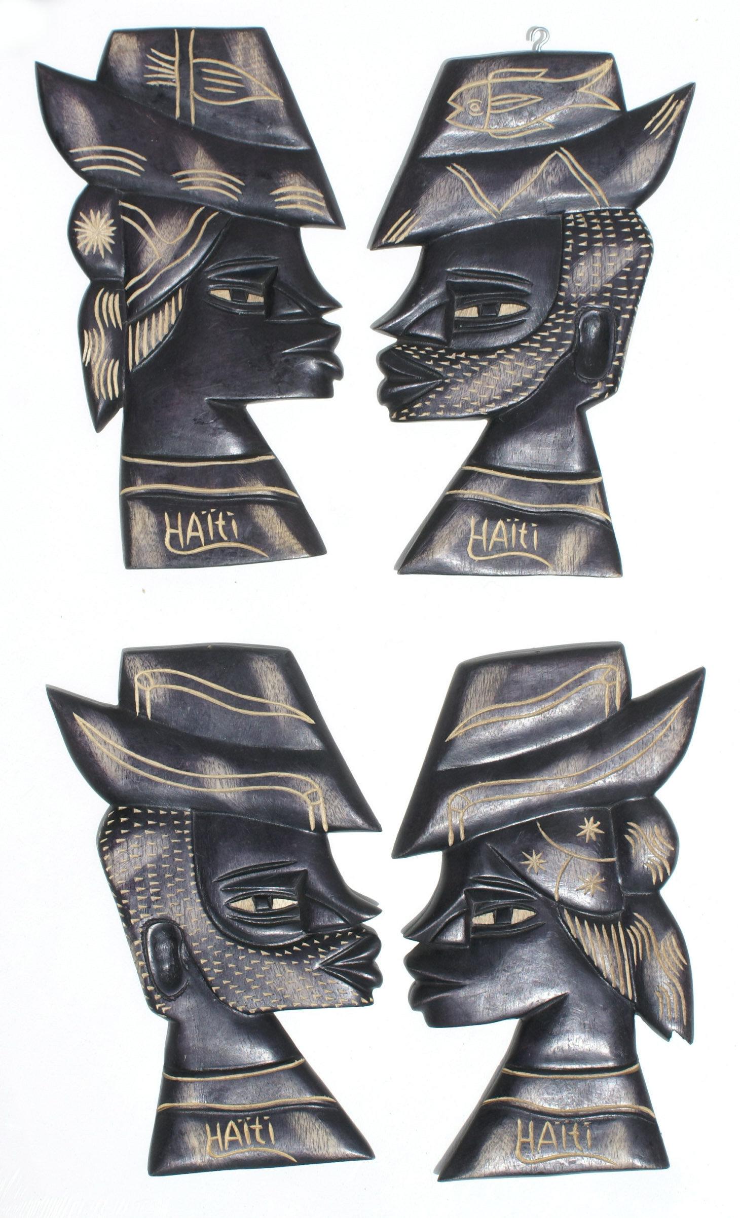 Lot 4 Zwarte Maskers Muur Decor Twee Paar Man En Vrouw 43 00 Eur Veiling Nederland